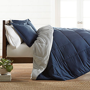 Reversible Twin/Twin XL Down Alternative Comforter, Navy/Ash, rollover