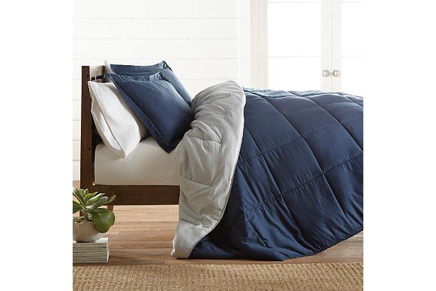 Reversible Twin/Twin XL Down Alternative Comforter, Navy/Ash, large