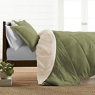 Reversible Twin/Twin XL Down Alternative Comforter, Sage/Ivory, rollover