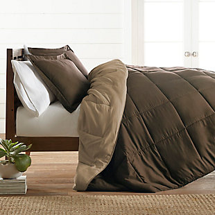 Reversible Twin/Twin XL Down Alternative Comforter, Chocolate/Taupe, rollover
