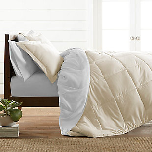Reversible Twin/Twin XL Down Alternative Comforter, Ivory/White, rollover