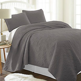 Damask Patterned 3-Piece Twin/Twin XL Quilted Coverlet Set, Gray, rollover