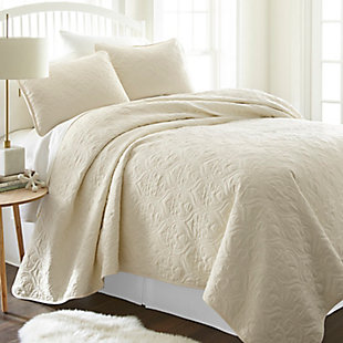 Damask Patterned 3-Piece Twin/Twin XL Quilted Coverlet Set, Ivory, rollover