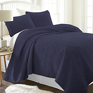 Damask Patterned 3-Piece Twin/Twin XL Quilted Coverlet Set, Navy, rollover