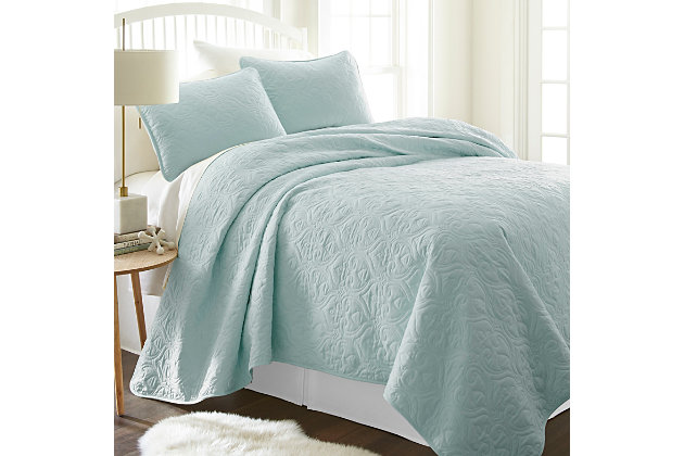 Damask Patterned 3-Piece Twin/Twin XL Quilted Coverlet Set, Pale Blue, large