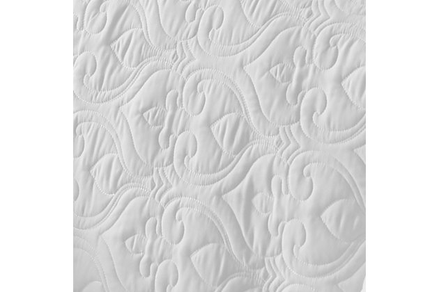 Damask Patterned 3-Piece Twin/Twin XL Quilted Coverlet Set, White, large