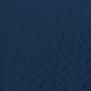 Herring Patterned 3-Piece King/California King Quilted Coverlet Set, Navy, large