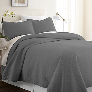 Herring Patterned 3-Piece Twin/Twin XL Quilted Coverlet Set, Gray, rollover