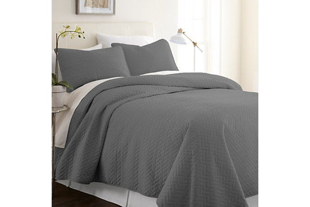 Herring Patterned 3-Piece Twin/Twin XL Quilted Coverlet Set, Gray, large