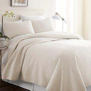 Herring Patterned 3-Piece Twin/Twin XL Quilted Coverlet Set, Ivory, rollover