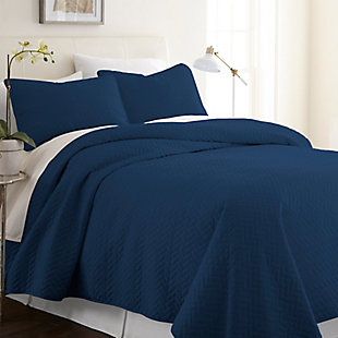 Herring Patterned 3-Piece Twin/Twin XL Quilted Coverlet Set, Navy, rollover