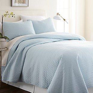 Herring Patterned 3-Piece Twin/Twin XL Quilted Coverlet Set, Pale Blue, large