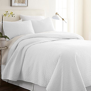 Herring Patterned 3-Piece Twin/Twin XL Quilted Coverlet Set, White, rollover