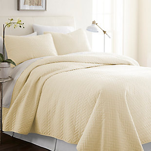Herring Patterned 3-Piece Twin/Twin XL Quilted Coverlet Set, Yellow, rollover