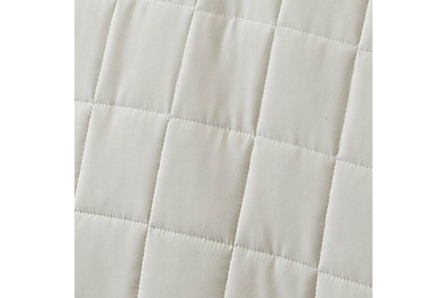 Square Patterned 3-Piece King/California King Quilted Coverlet Set, Ivory, large