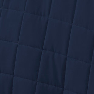 Square Patterned 3-Piece King/California King Quilted Coverlet Set, Navy, large