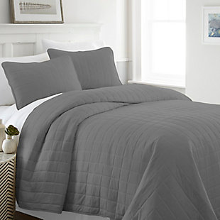 Square Patterned 3-Piece Twin/Twin XL Quilted Coverlet Set, Gray, rollover