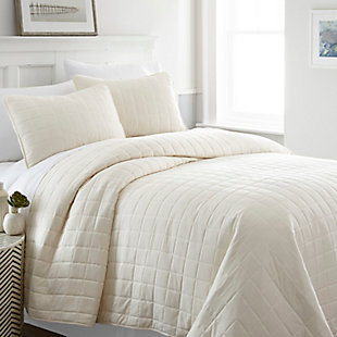 Square Patterned 3-Piece Twin/Twin XL Quilted Coverlet Set, Ivory, rollover