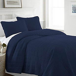 Square Patterned 3-Piece Twin/Twin XL Quilted Coverlet Set, Navy, large