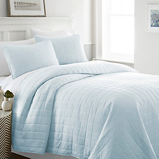 Square Patterned 3-Piece Twin/Twin XL Quilted Coverlet Set, Pale Blue, rollover