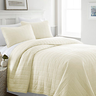 Square Patterned 3-Piece Twin/Twin XL Quilted Coverlet Set, Yellow, rollover