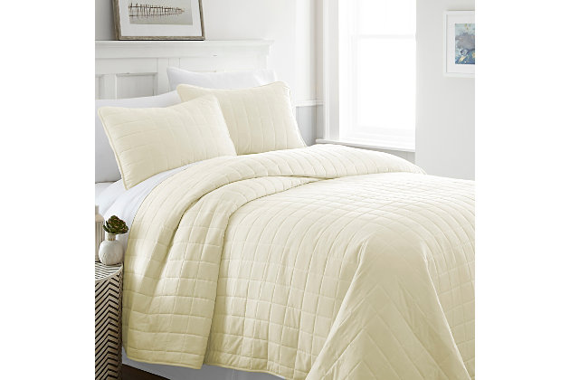 Square Patterned 3-Piece Twin/Twin XL Quilted Coverlet Set, Yellow, large