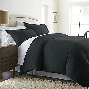 Three Piece Twin/Twin XL Duvet Cover Set, Black, large
