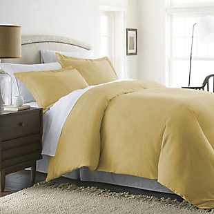 Three Piece Twin/Twin XL Duvet Cover Set, Gold, rollover