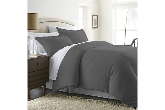 Three Piece Twin/Twin XL Duvet Cover Set, Gray, large