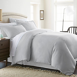 Three Piece Twin/Twin XL Duvet Cover Set, Light Gray, large