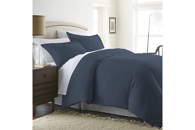 Three Piece Twin/Twin XL Duvet Cover Set, Navy, large