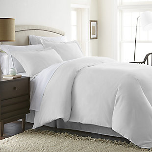 Three Piece Twin/Twin XL Duvet Cover Set, White, rollover