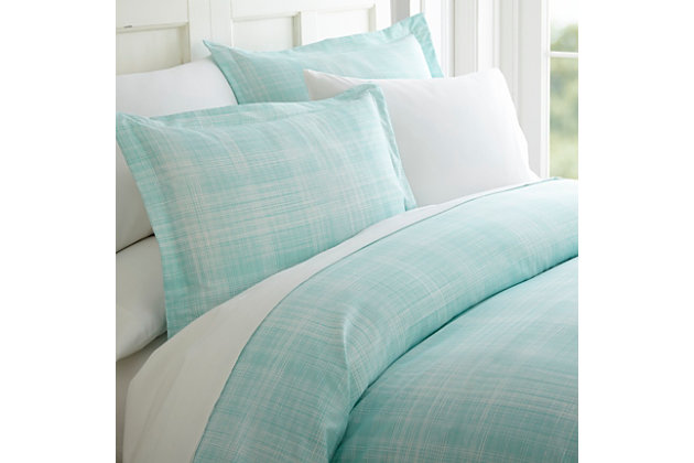 Thatch Patterned 3-Piece Twin/Twin XL Duvet Cover Set, Aqua, large