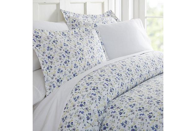 Flower Blossoms 3-Piece King/California King Duvet Cover Set, Light Blue, large