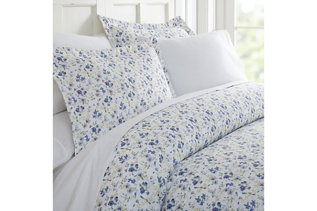 Flower Blossoms 3-Piece Full/Queen Duvet Cover Set, Light Blue, large