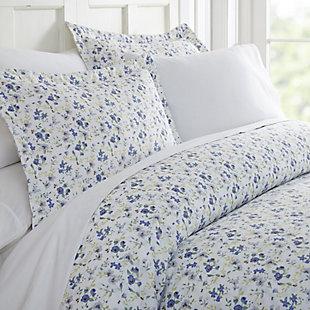 Flower Blossoms 3-Piece Twin/Twin XL Duvet Cover Set, Light Blue, large