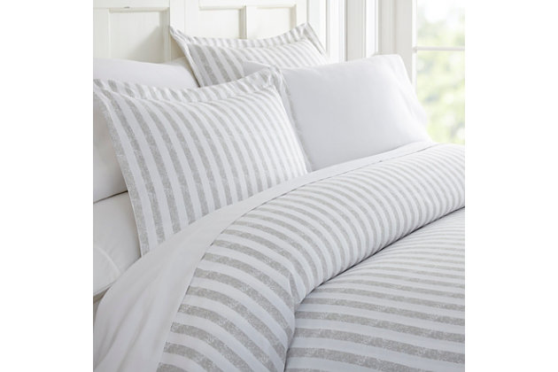 Striped 3-Piece Full/Queen Duvet Cover Set, Light Gray, large