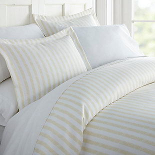 Striped 3-Piece Twin/Twin XL Duvet Cover Set, Ivory, rollover