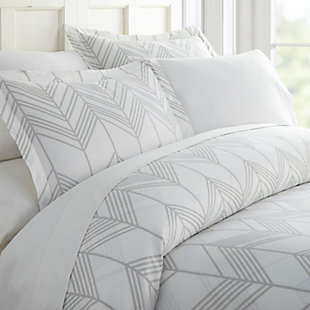 Chevron 3-Piece Twin/Twin XL Duvet Cover Set, Light Gray, rollover