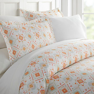 Aztec Patterned 3-Piece Twin/Twin XL Duvet Cover Set, Coral, rollover