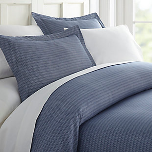 Diamond Patterned 3-Piece Twin/Twin XL Duvet Cover Set, Navy, rollover