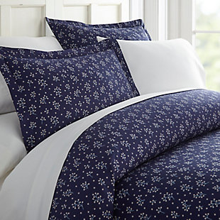 Midnight Blossom Patterned 3-Piece Twin/Twin XL Duvet Cover Set, Navy, large