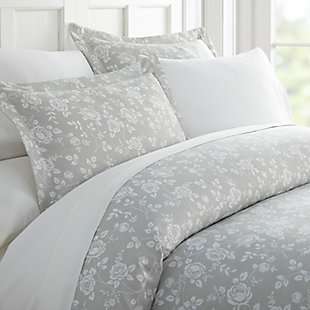 Rose Patterned 3-Piece Twin/Twin XL Duvet Cover Set, Light Gray, large