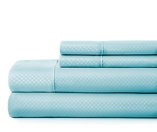 Checkered Embossed 4-Piece Twin Sheet Set, Aqua, large