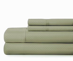 Checkered Embossed 4-Piece Twin Sheet Set, Sage, large