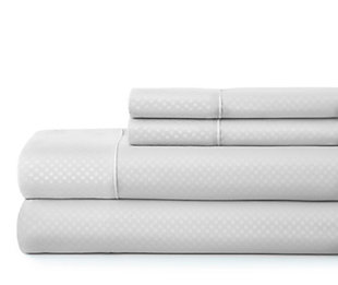 Checkered Embossed 4-Piece Twin Sheet Set, White, rollover