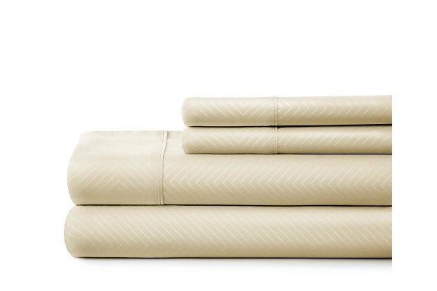 Chevron Embossed 4-Piece California King Sheet Set, Ivory, large
