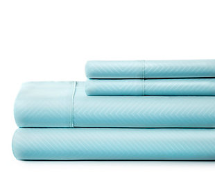 Chevron 4-Piece Twin Sheet Set, Aqua, large