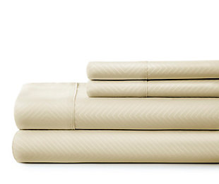Chevron 4-Piece Twin Sheet Set, Ivory, large