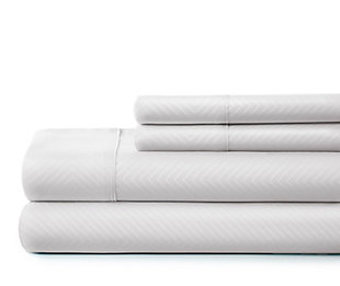 Chevron 4-Piece Twin Sheet Set, White, large